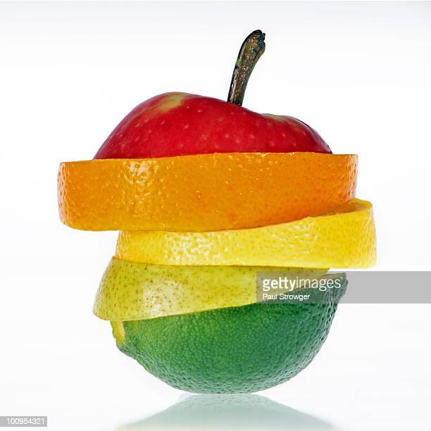 fruit amalgamation - apple fruit stock photos and pictures