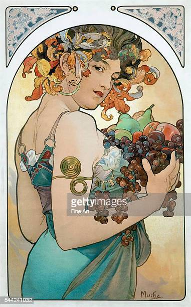 Fruit an Art Nouveau poster by Alphonse Mucha Lithograph private collection