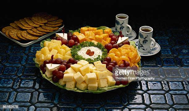 fruit and cheese tray -  firak stock pictures, royalty-free photos & images