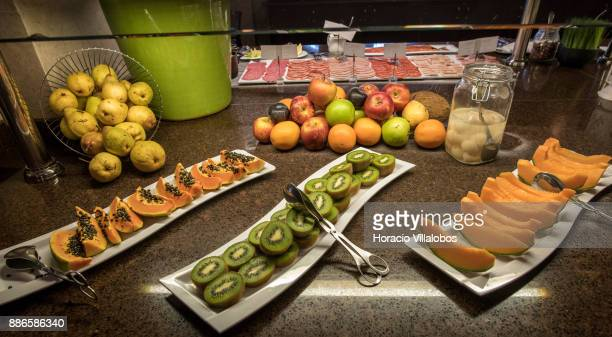Fruit and cold cuts for breakfast at Dolce CampoReal Lisboa Hotel during Gastronomic FAM Tour on November 27 2017 in Torres Vedras Portugal...
