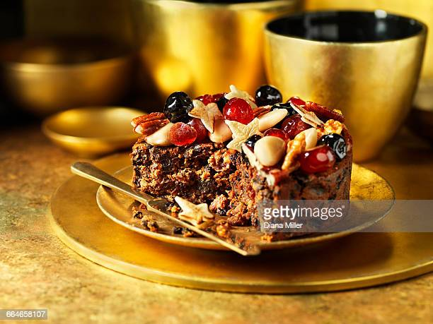 Fruit and nuts decorating traditional fruit christmas cake