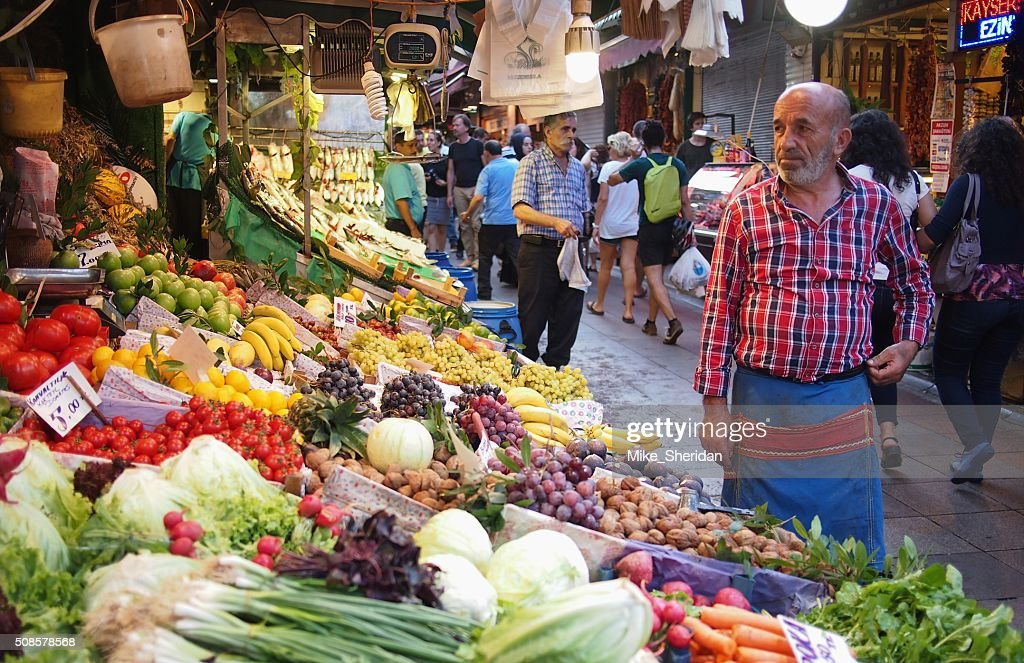 Étal de marché des fruits et légumes à Istanbul : Photo