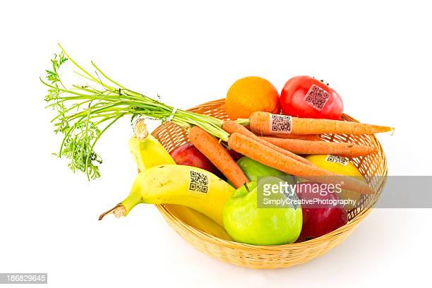 Fruit and Vegetable Basket with QR Code Labels