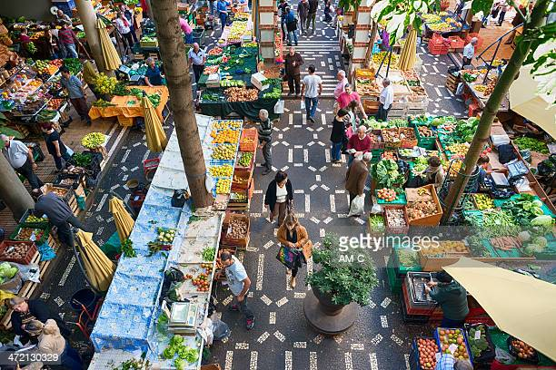 fruit and vegetable market, funchal, madeira. - funchal stock pictures, royalty-free photos & images