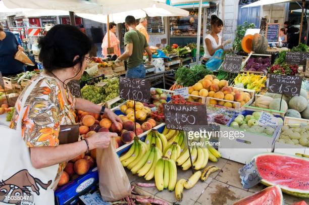 Fruit and vegetable market in Campo de Fiori, Centro Storico.