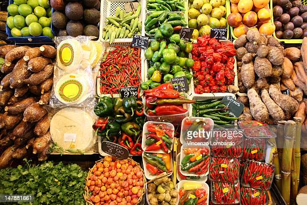 Fruit and vegetable market stall, elevated view