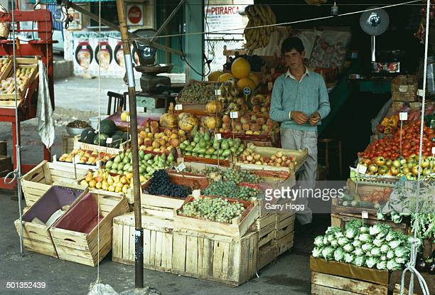 A fruit and vegetable stall at a market in the Mondello area of Palermo Sicily 1971