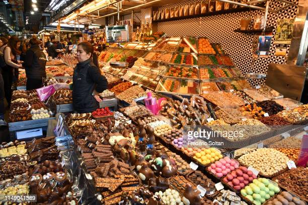 Fruit and vegetable stall in Boqueria Market in Barcelona on April 04 Spain