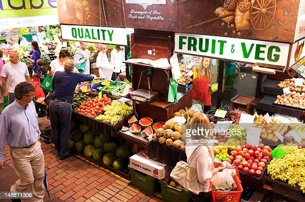 fruit and vegetable stall in central market. - adelaide market stock pictures, royalty-free photos & images