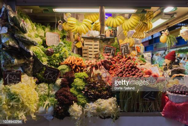 Fruit and vegetable stall in the covered central market in Malaga