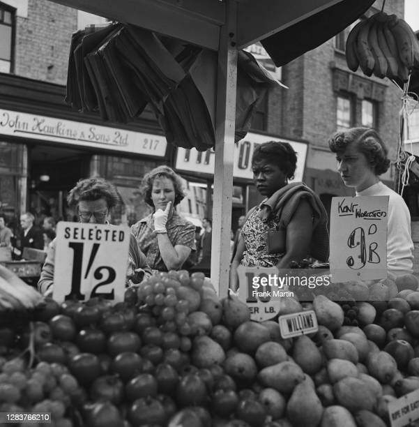 Fruit and vegetable stall on Portobello Road in London, circa 1958.