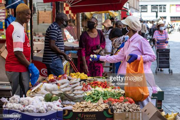 A fruit and vegetable stall trades at Brixton market on June 01 2020 in London England Despite a government announcement that open air markets would...