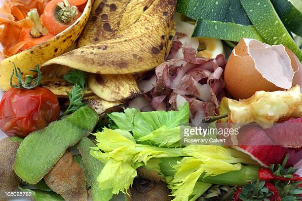 Fruit and vegetable waste in close-up.