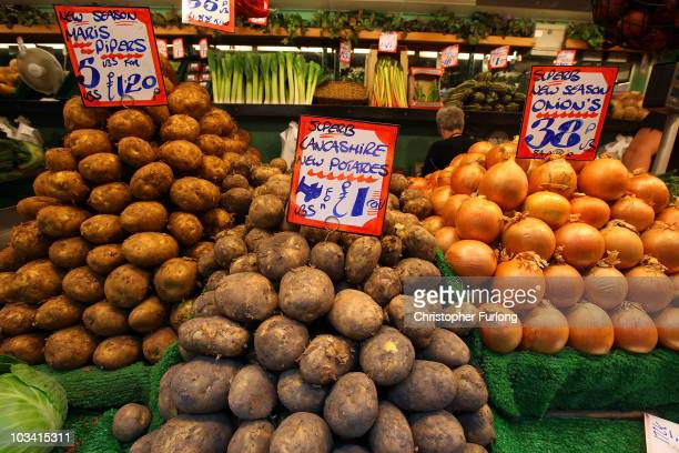 Fruit and vegetables are displayed at Bolton Market as figures for the UK inflation rate show that it continues to slow on August 17 2010 in Bolton...