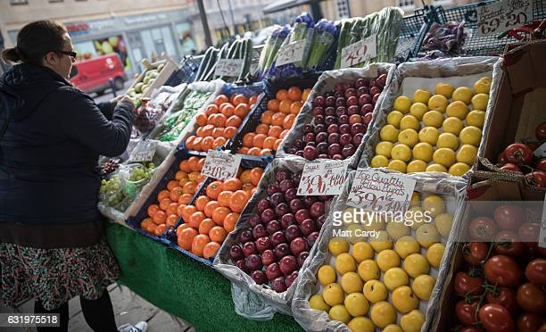 Fruit and vegetables are displayed outside Bath Bus Station Fruiterers stall on January 18 2017 in Bath England Some food suppliers and supermarkets...