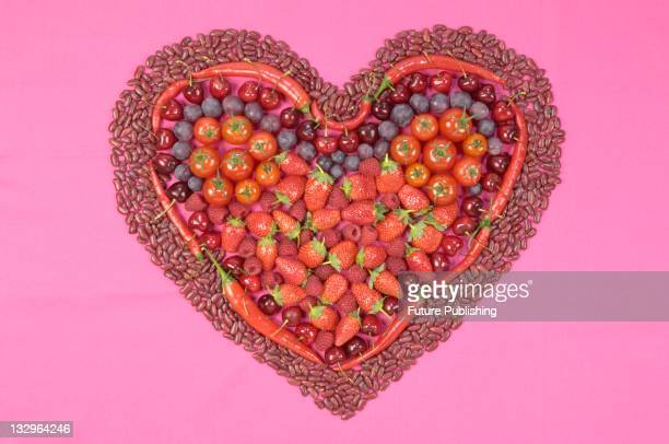 Fruit and vegetables arranged in the shape of a heart Studio shoot on December 12 United Kingdom