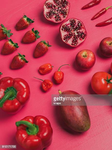 Fruit and vegetables background knolling from above flat lay