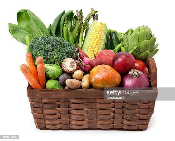 fruit and vegetables basket - basket stock photos and pictures
