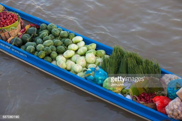 fruit and vegetables boat on Nga Nam floating market