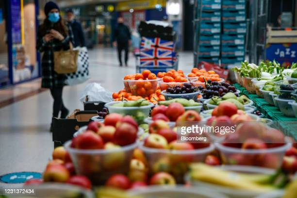 Fruit and vegetables for sale at a stall in Stratford Centre shopping mall, east London, U.K., on Monday, Feb. 22, 2021. Saddled with commercial...