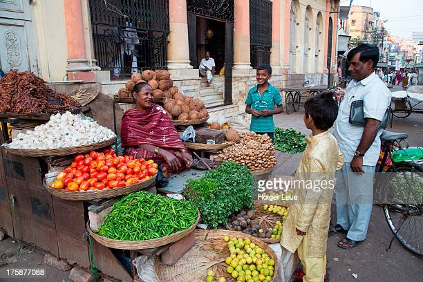 Fruit and vegetables for sale at market stand