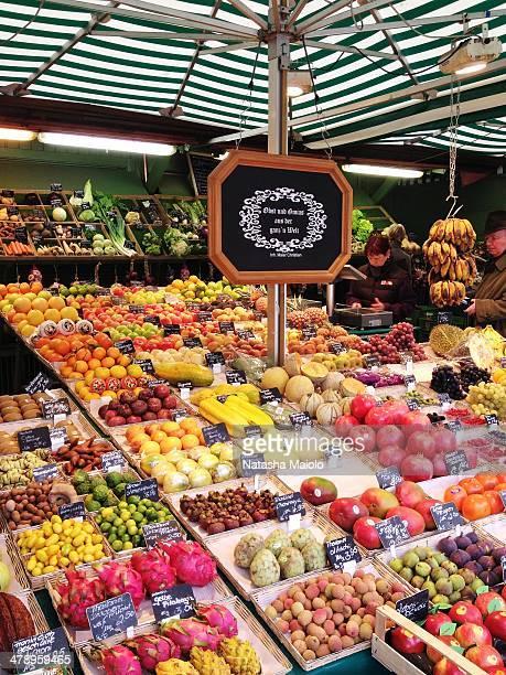 Fruit and vegetables for sale at Viktualienmarkt Munich