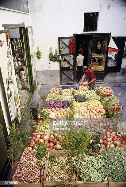 Fruit and vegetables on sale in a market on the island of Capri Italy in September 1968