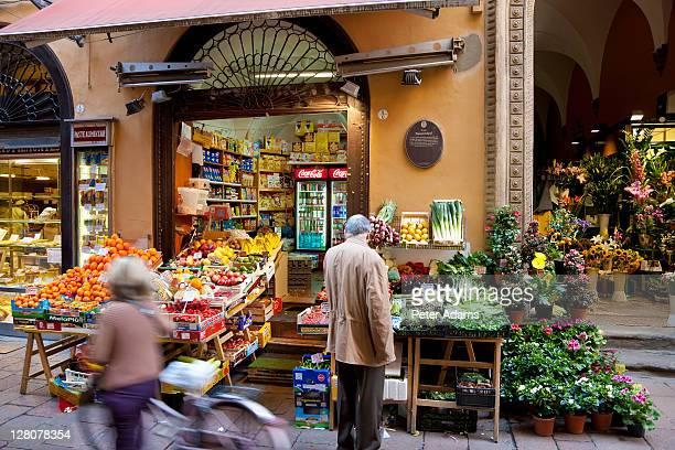 Fruit and vegtable shops, market, central Bologna, Emilia Romagna, Italy