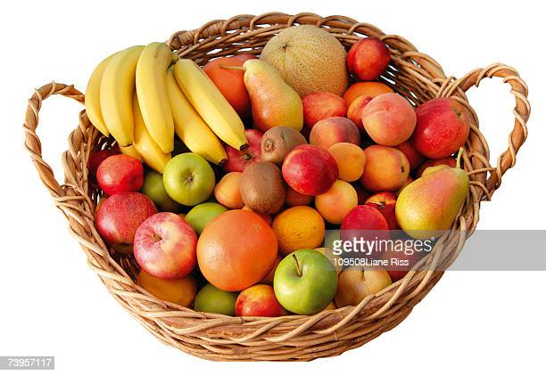 Basket full of fruits, elevated view