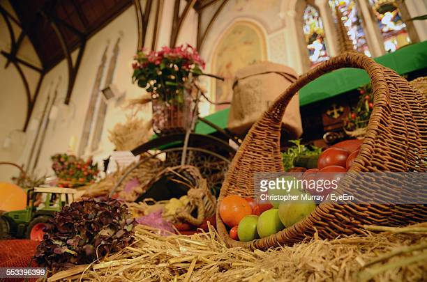 Fruit Basket On Display In Church During Harvest Festival