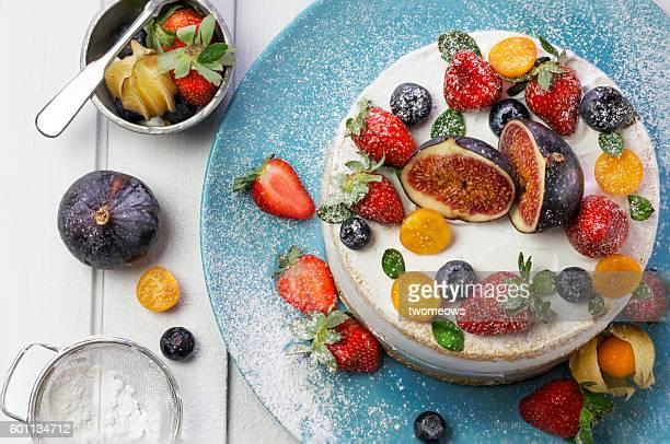 Fruit cakes on white background.