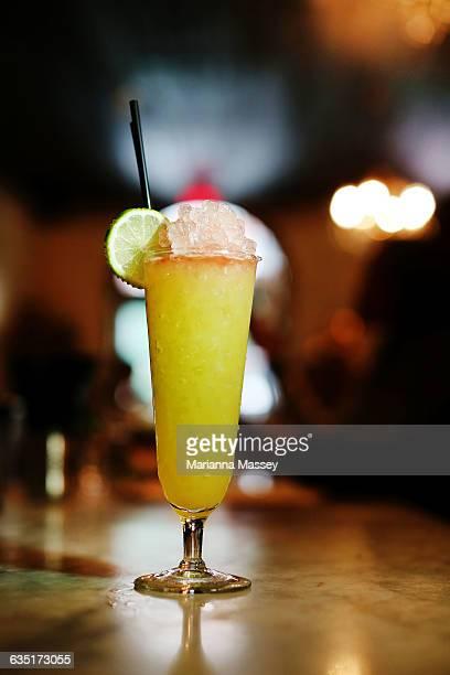 A fruit cocktail at a tiki bar