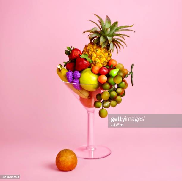 Fruit cocktail in martini glass