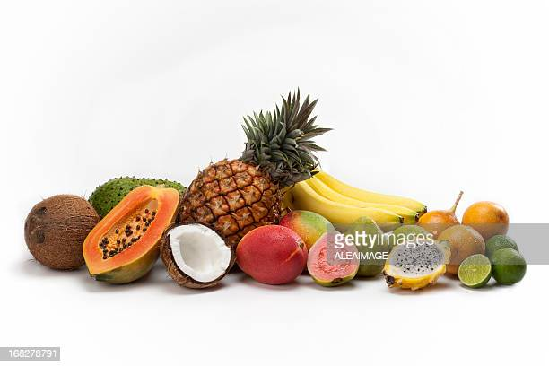 fruit composition - tropical fruit stock pictures, royalty-free photos & images