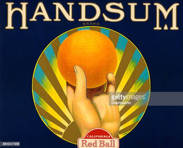 Fruit crate label for 'Handsum' brand California oranges with a hand holding a perfect orange 1930s Lithograph