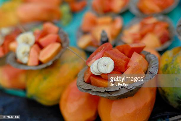 Fruit cups for sale at a snack stall near Hogg Market the mercantile center of Calcutta The bowls are made of pressed leaves and are simply thrown on...