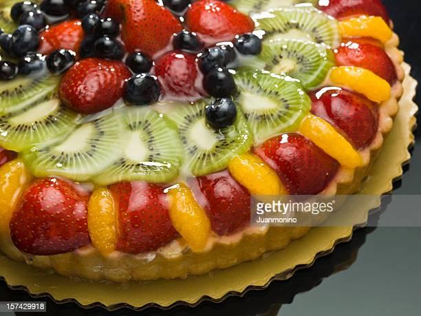 Fruit custard cake Close up