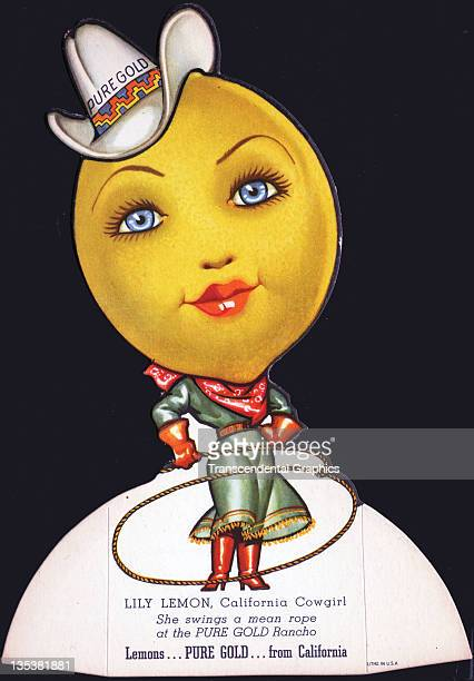 A fruit die cut advertisement is a cowgirl lemon with a lasso promoting Pure Gold produce printed circa 1930 somewhere in California