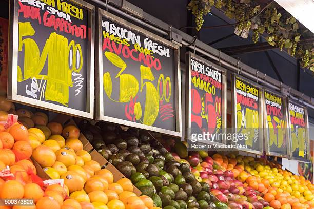 Fruit display in convinience store in New York City Beautifully arranged fruit outside the store on a Saturday afternoon