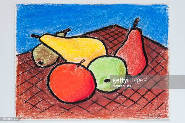 Fruit, drawing, wax crayon, wax crayon, wax crayon, fat pencil, childrens drawing, 12 years, Germany