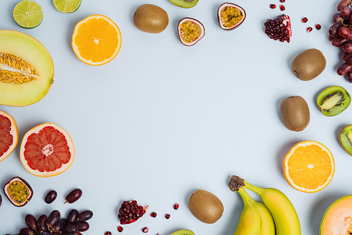 Fruit flat lay from above colorful food background 885478272