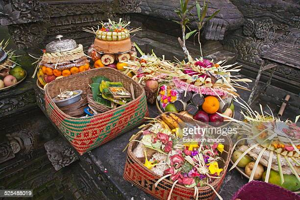 Fruit Flowers And Pastries Are Among The Offering At Pura Tirta Empul Temple Complex During The Galungan Festival Tampaksiring Bali Indonesia