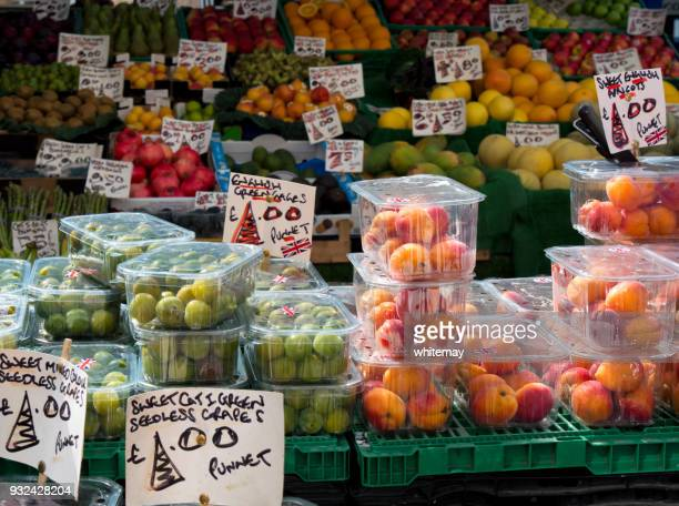 Fruit for sale on an English market stall