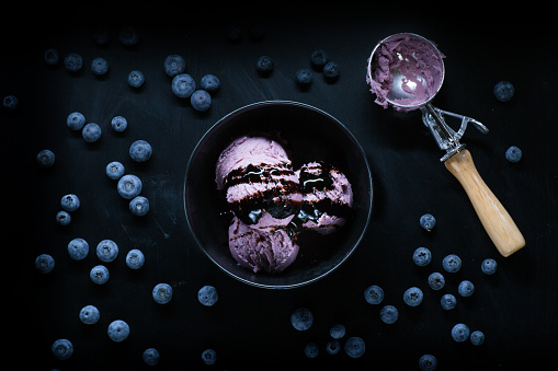 fruit Ice cream on a black background from top view - gettyimageskorea