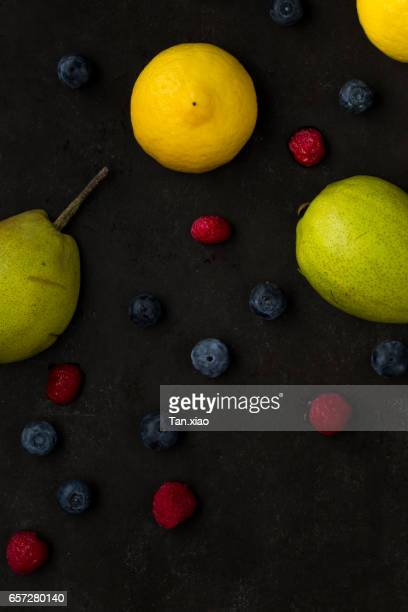 Fruit in black slate