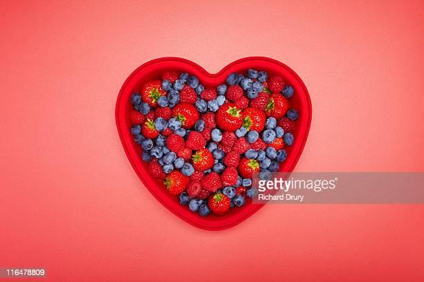 Fruit in heart shaped dish