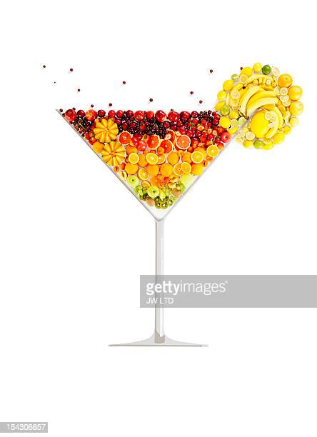 Fruit in the shape of fruit cocktail glass