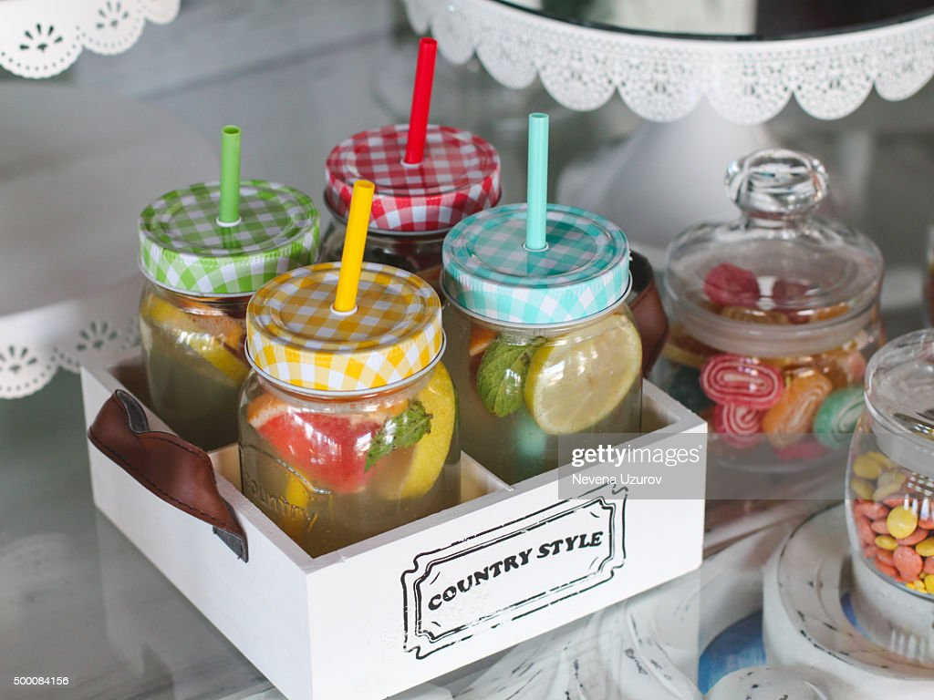 Fruit infused water : Stock Photo
