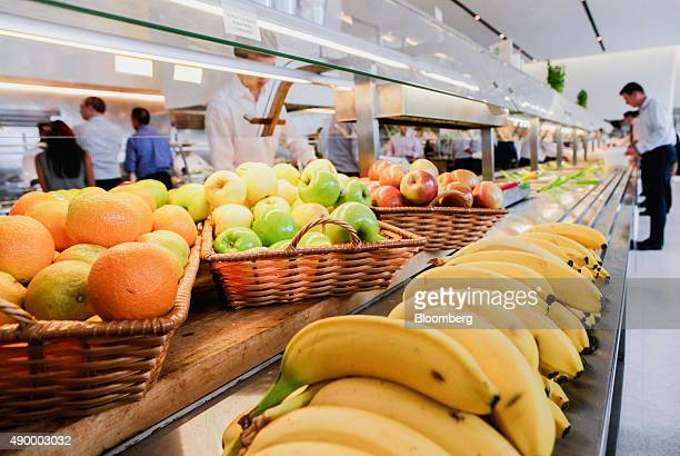 Fruit is displayed for employees during lunch in the cafeteria of the Goldman Sachs Group Inc office in New York US on Thursday Sept 10 2015 Many of...