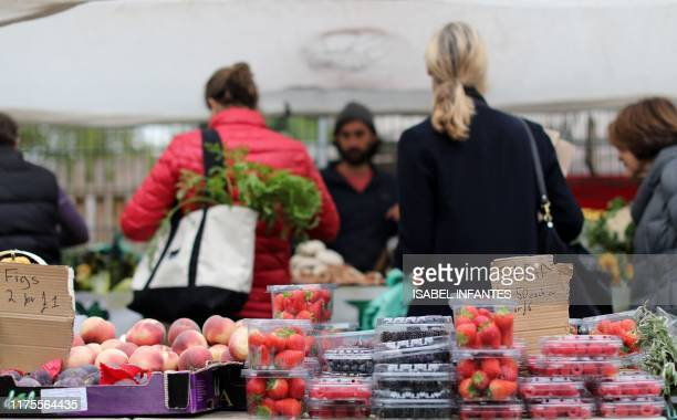 Fruit is displayed on the stalls at The Spread farmers' market in Primrose Hill north west London on October 5 2019 Brexit supporters have said the...